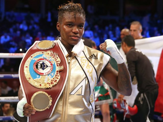 Nicola Adams standing in front of a crowd