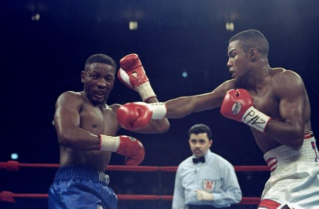 Pernell Whitaker standing in front of a crowd